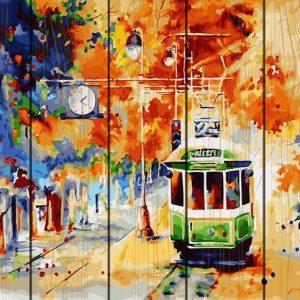 Pictura pe numere Lemn-Abstract Train