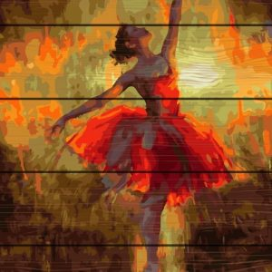 Red Ballerina-Pictura Lemn