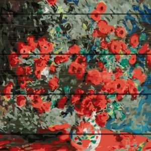 Red Flowers-Pictura Lemn