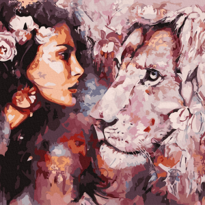 Woman and Lion-Picturi pe numere